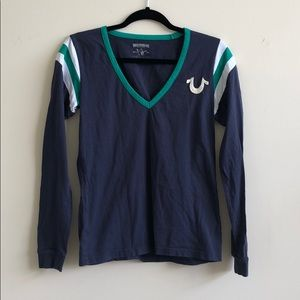 True religion navy long sleeve shirt
